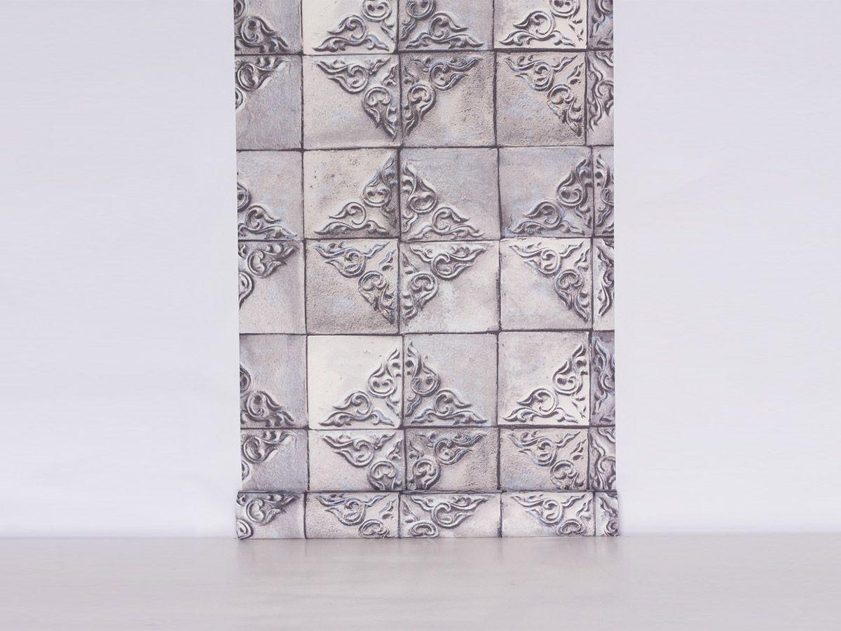 Papel De Parede Liso Azulejos Antigos Cinza E Branco 3d - 1021