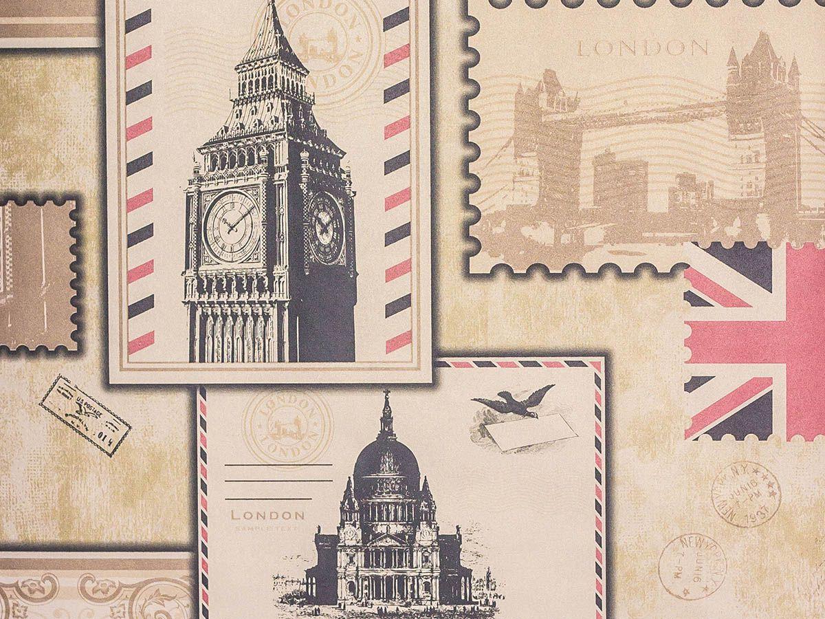 Papel De Parede Liso Cartão Postal Paris, Londres Dourado E Bege - Ce88301