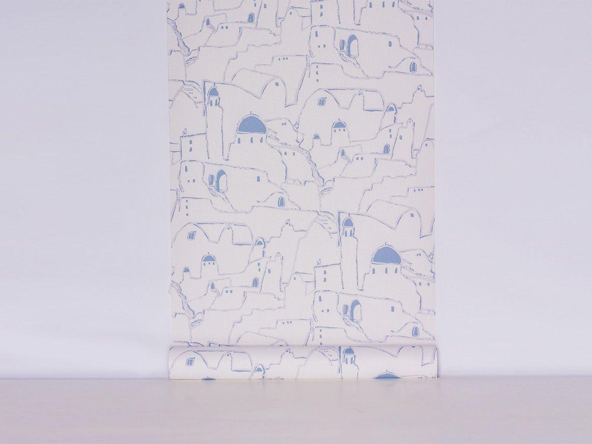 Papel De Parede Liso Casas Na Montanha Cinza Com Azul - 373201