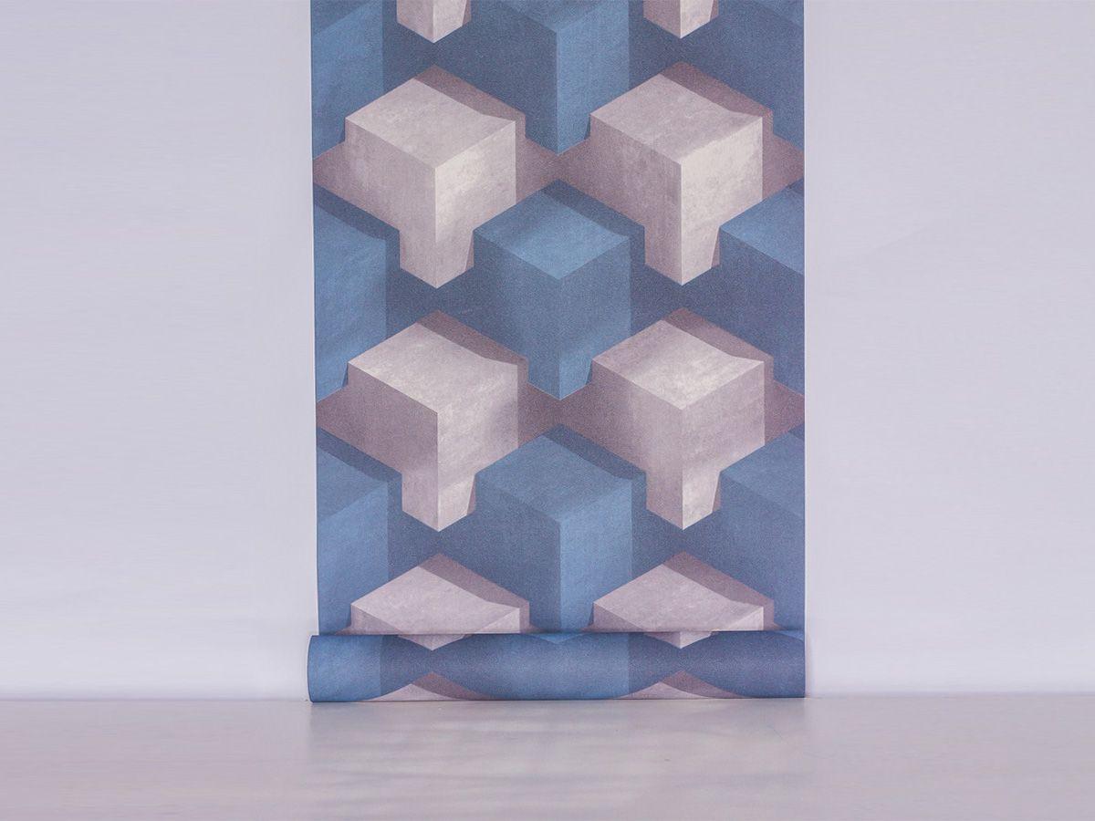 Papel De Parede Liso Cubos Azul E Cinza 3D - 370604