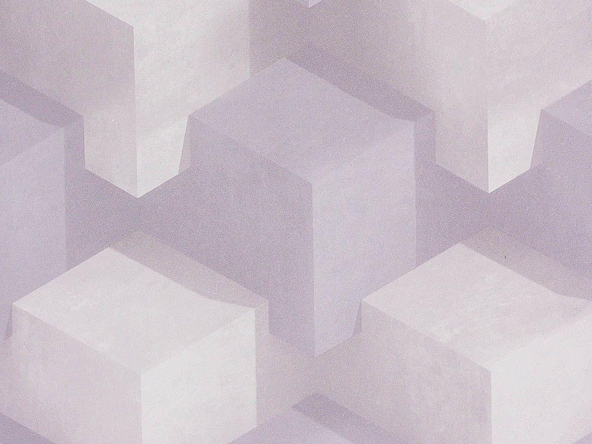 Papel De Parede Liso Cubos Cinza Claro E Branco - 370601