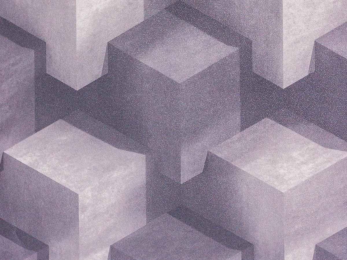 Papel De Parede Liso Cubos Cinza Escuro E Claro 3D - 370605
