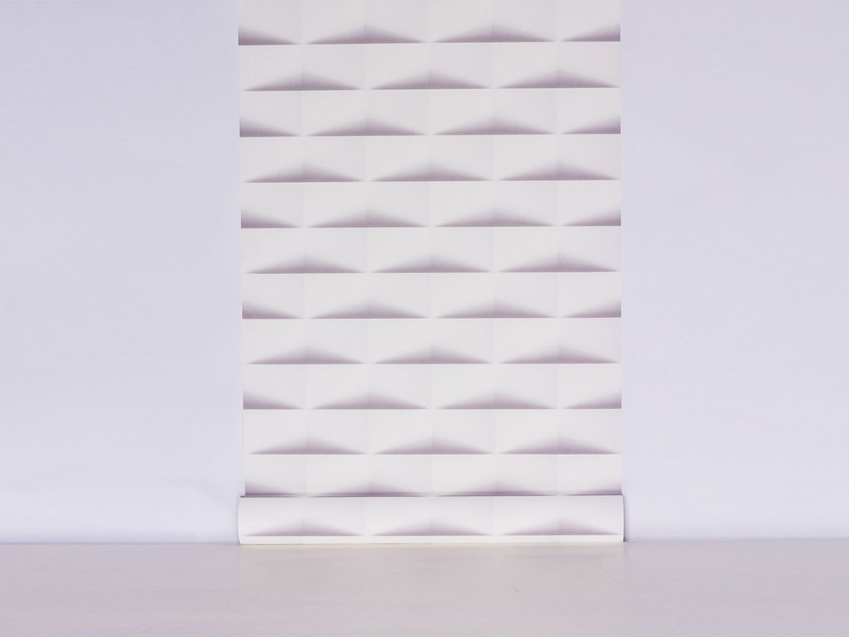 Papel De Parede Liso Cubos Com Sombra Branco E Cinza - 370201