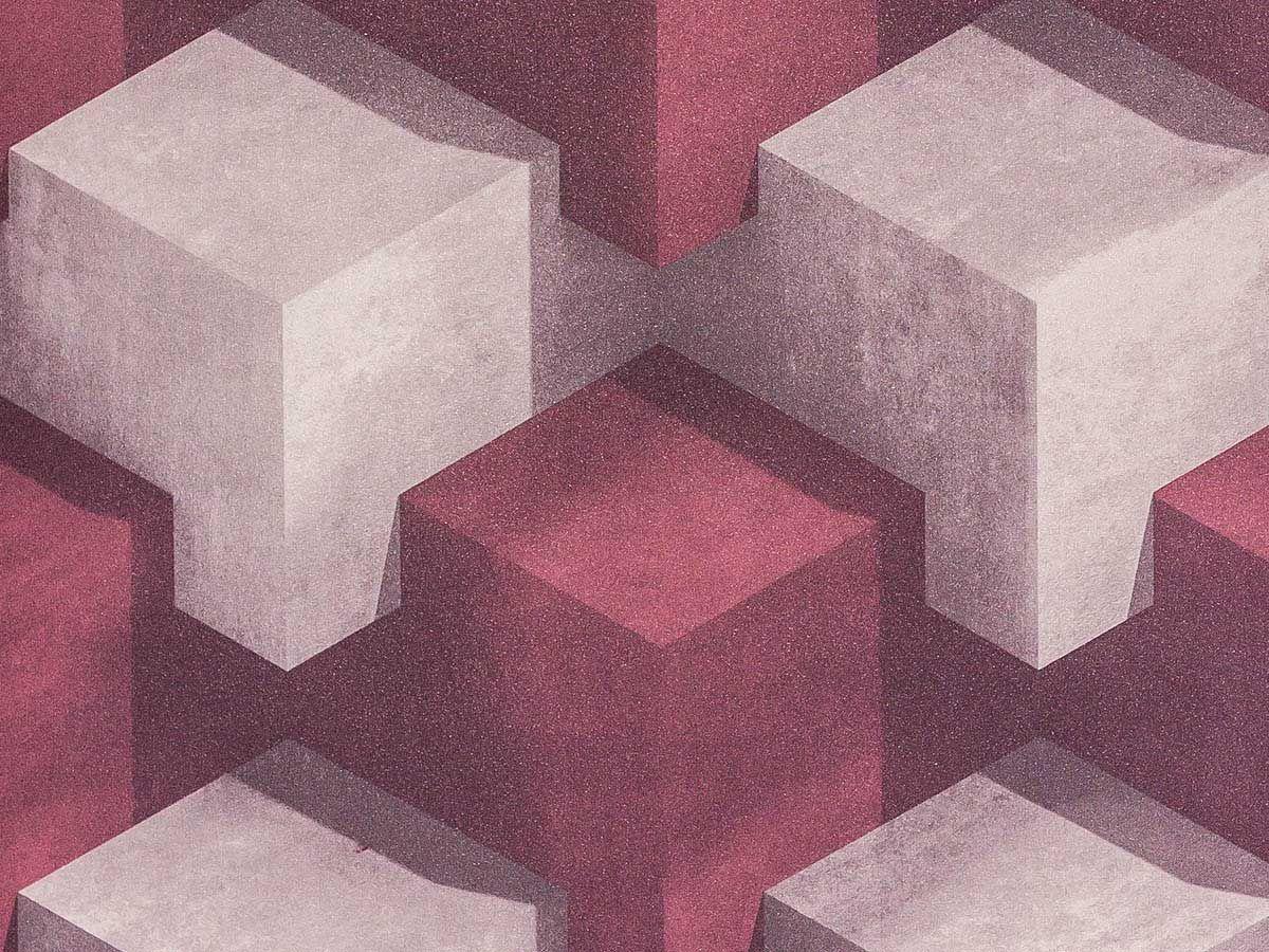 Papel De Parede Liso Cubos Vinho E Marrom Claro 3D - 370603