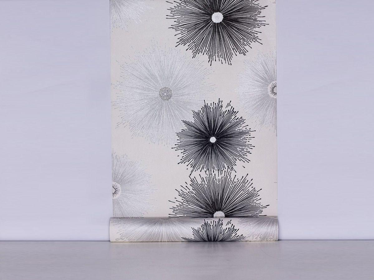 Papel De Parede Liso Floral Abstrato Branco, Prata E Preto - 87021