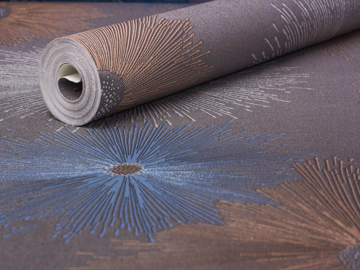 Papel De Parede Liso Floral Abstrato Grafite, Prata Azule Bege - 87025