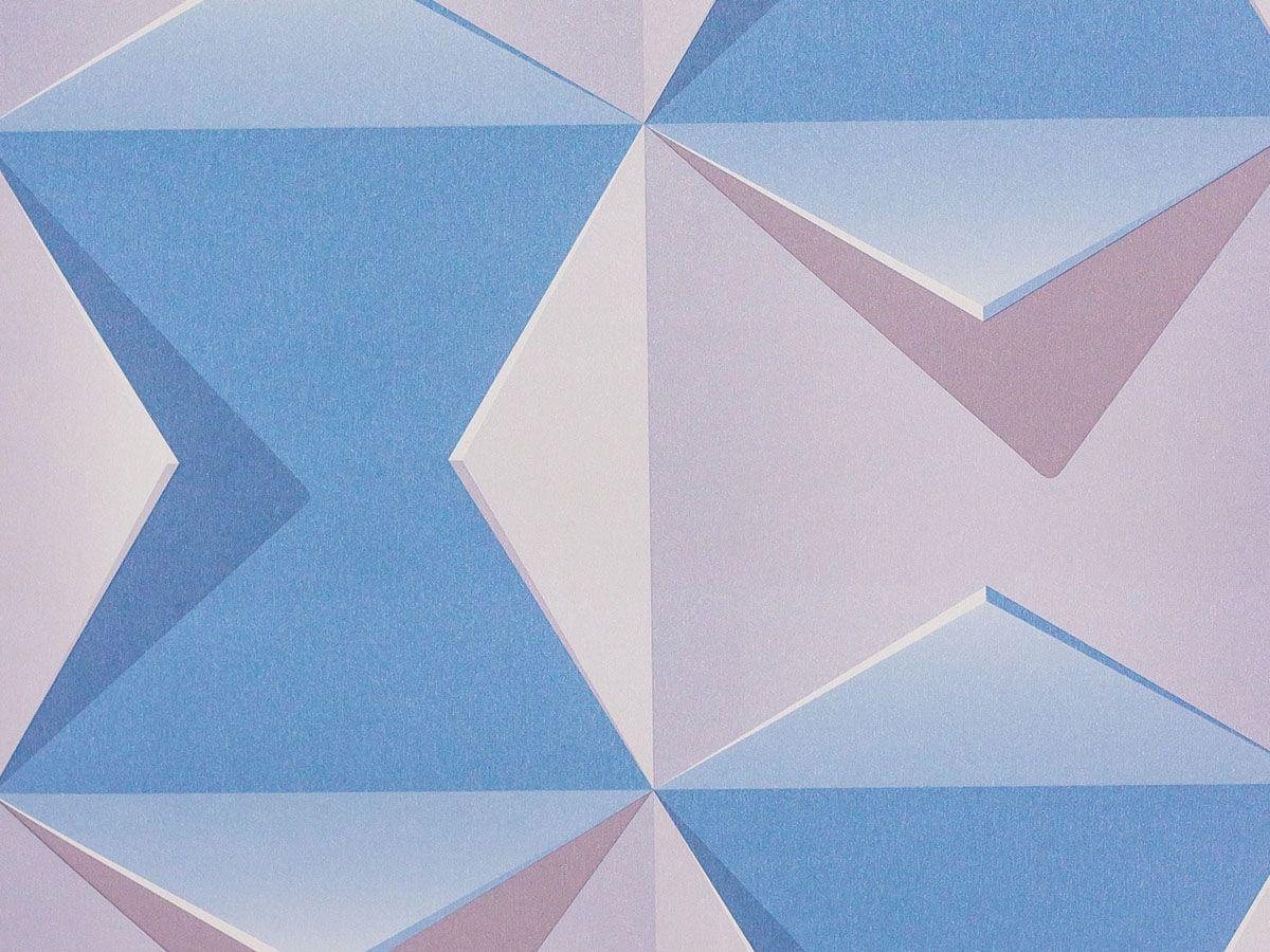 Papel De Parede Liso Geometrico Azul, Cinza E Branco 3d - 1009