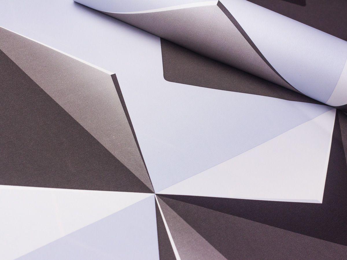 Papel De Parede Liso Geometrico Cinza Escuro e Claro 3D - 1011