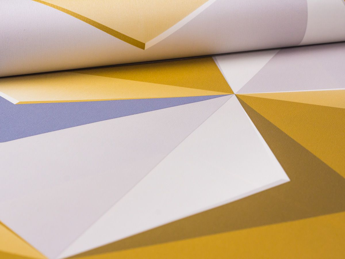 Papel De Parede Liso Geometrico Mostarda e Cinza 3d - 1010