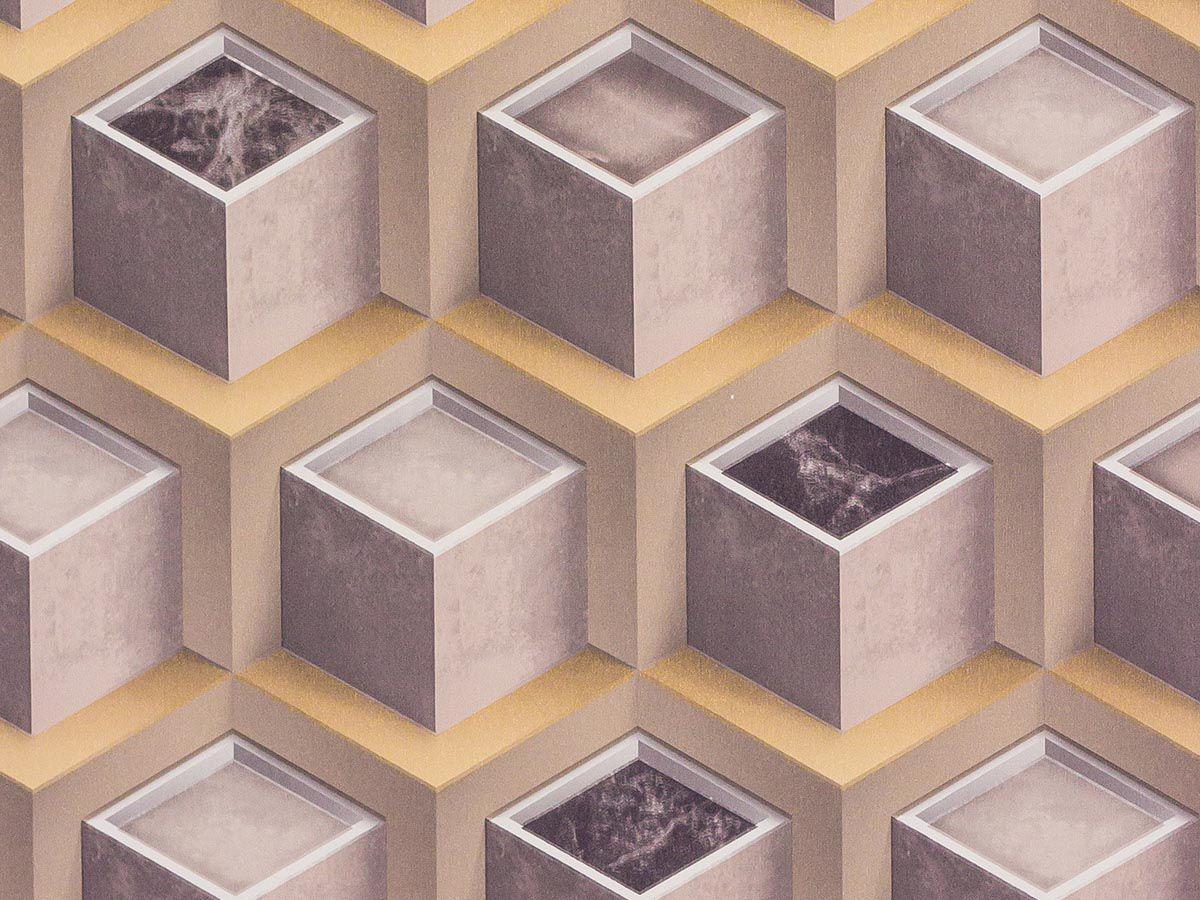 Papel de Parede Liso Geometrico Nude com Cinza 3D - 1003