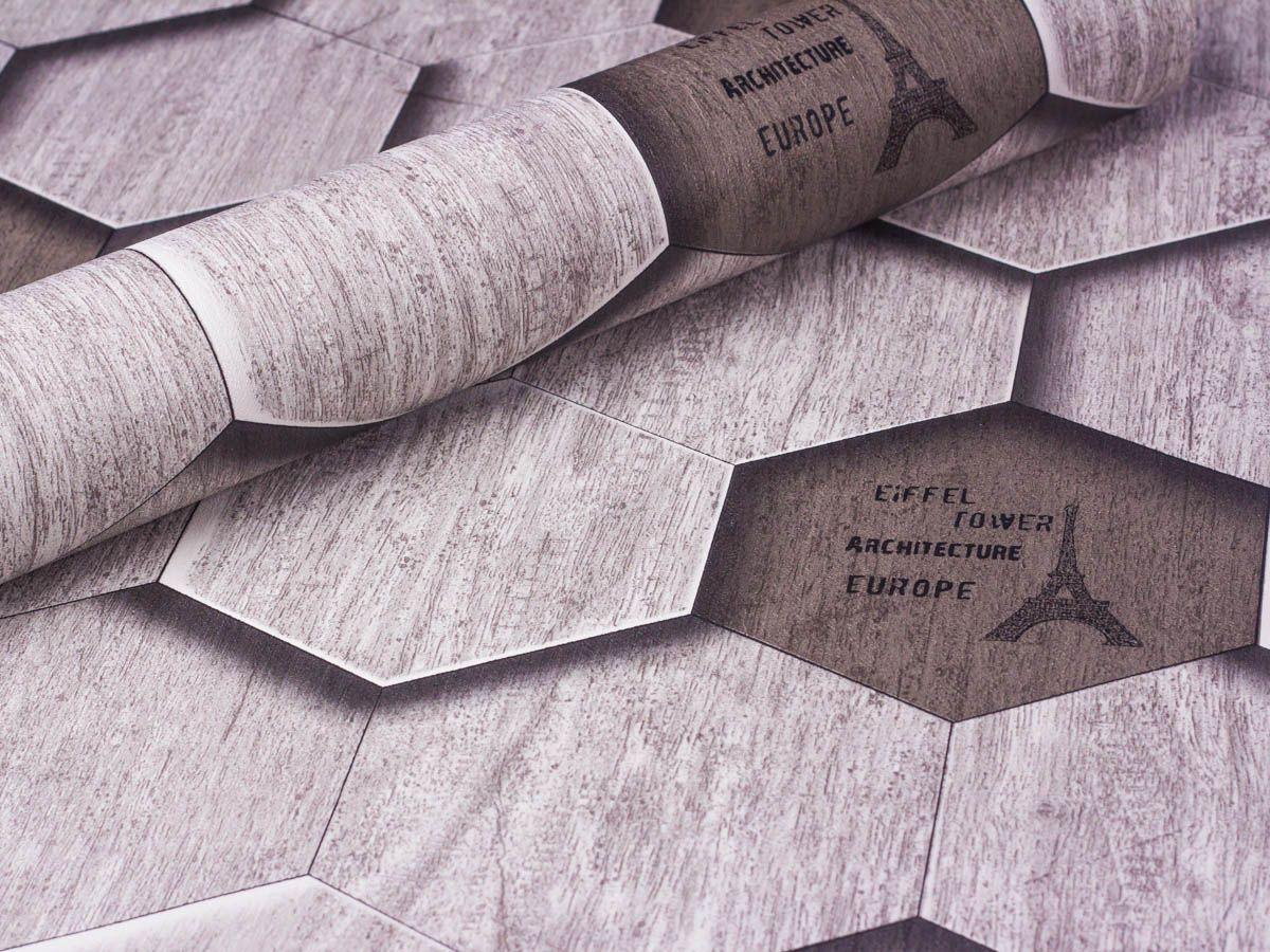 Papel De Parede Liso Hexagonal Arquitetura Cinza 3d - 1040