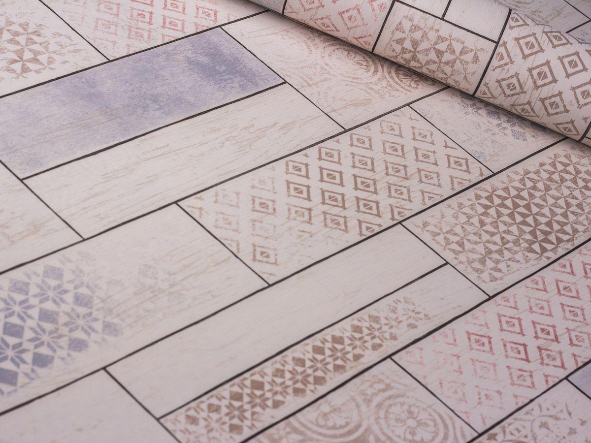 Papel De Parede Liso Ladrilho Bege Com Detalhes 3D - 370701