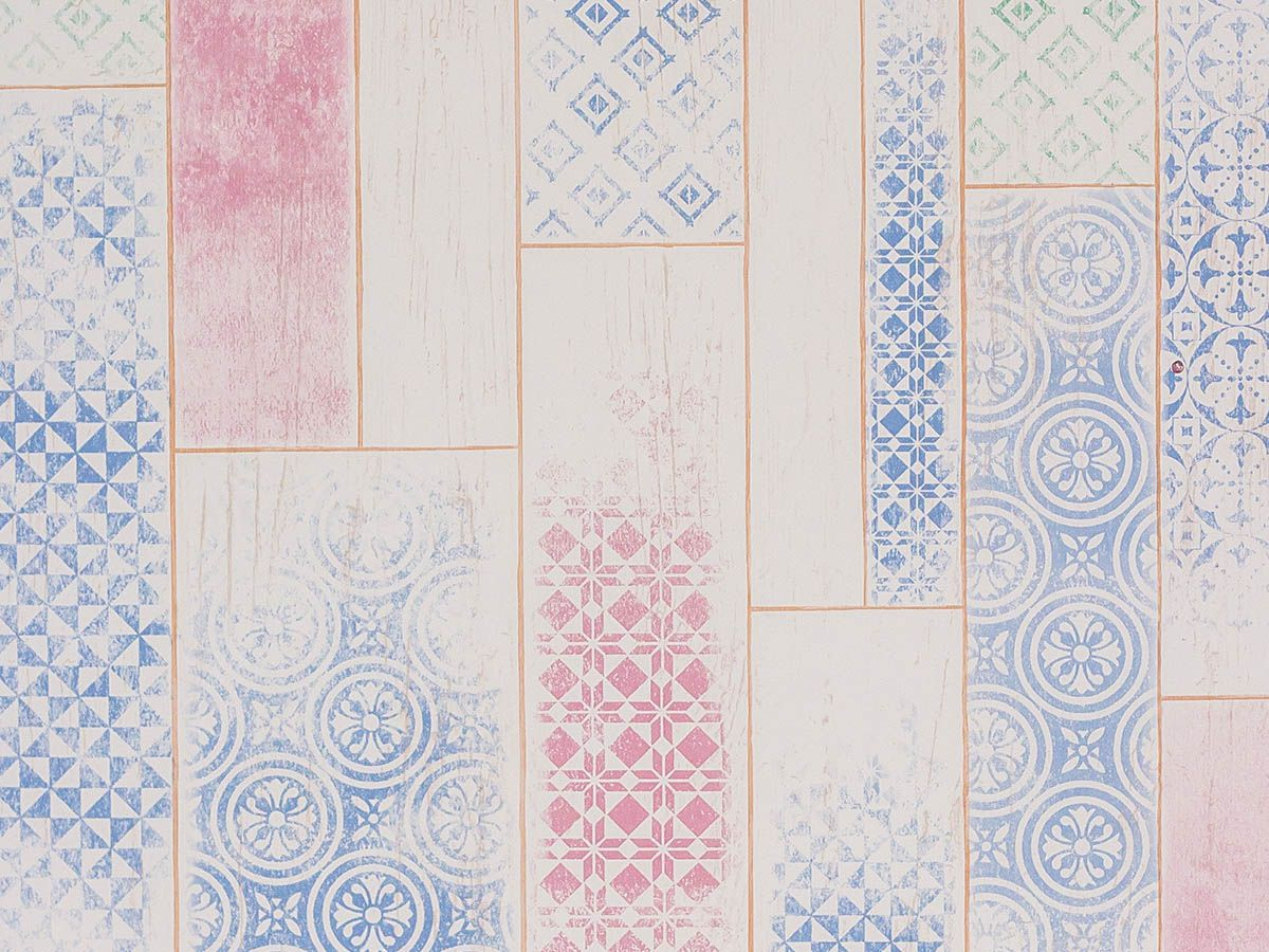 Papel De Parede Liso Ladrilho Bege Com Detalhes Azul 3D - 370703