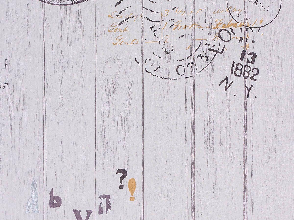 Papel De Parede Liso Madeira Torre Eiffel Branco Prata E Cinza - 151061