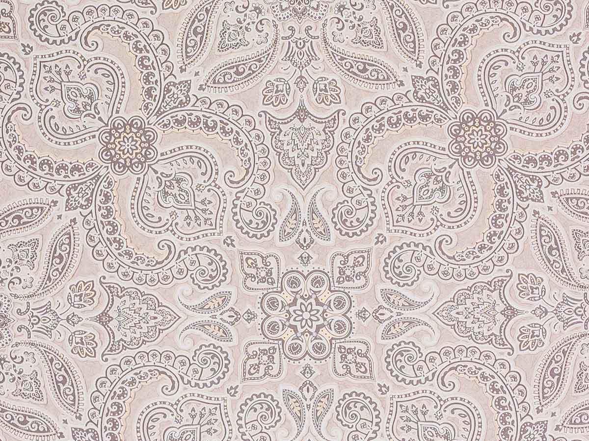 Papel De Parede Liso Mandalas Cinza Nude e Bege 3D - 1055