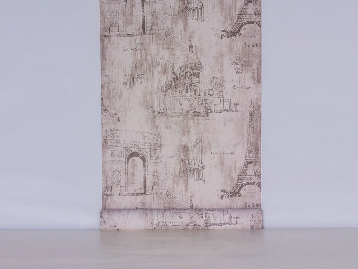 Papel De Parede Liso Pontos Turísticos França Cinza - 678001