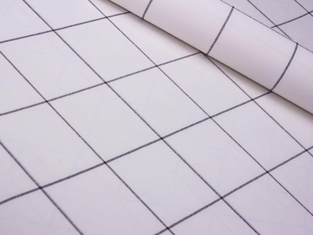 Papel De Parede Liso Quadriculado Perolado Linhas Pretas - 372601