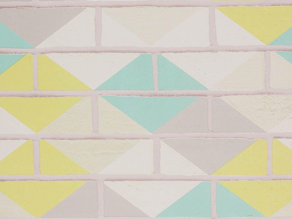 Papel De Parede Liso Tijolo Colorido Branco Verde E Cinza - 371001