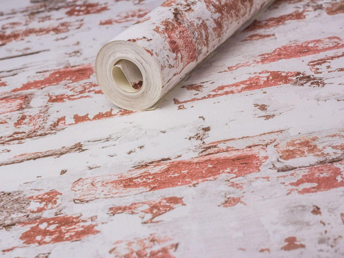 Papel De Parede Liso Tijolo Demolição Branco E Vermelho - HS2025