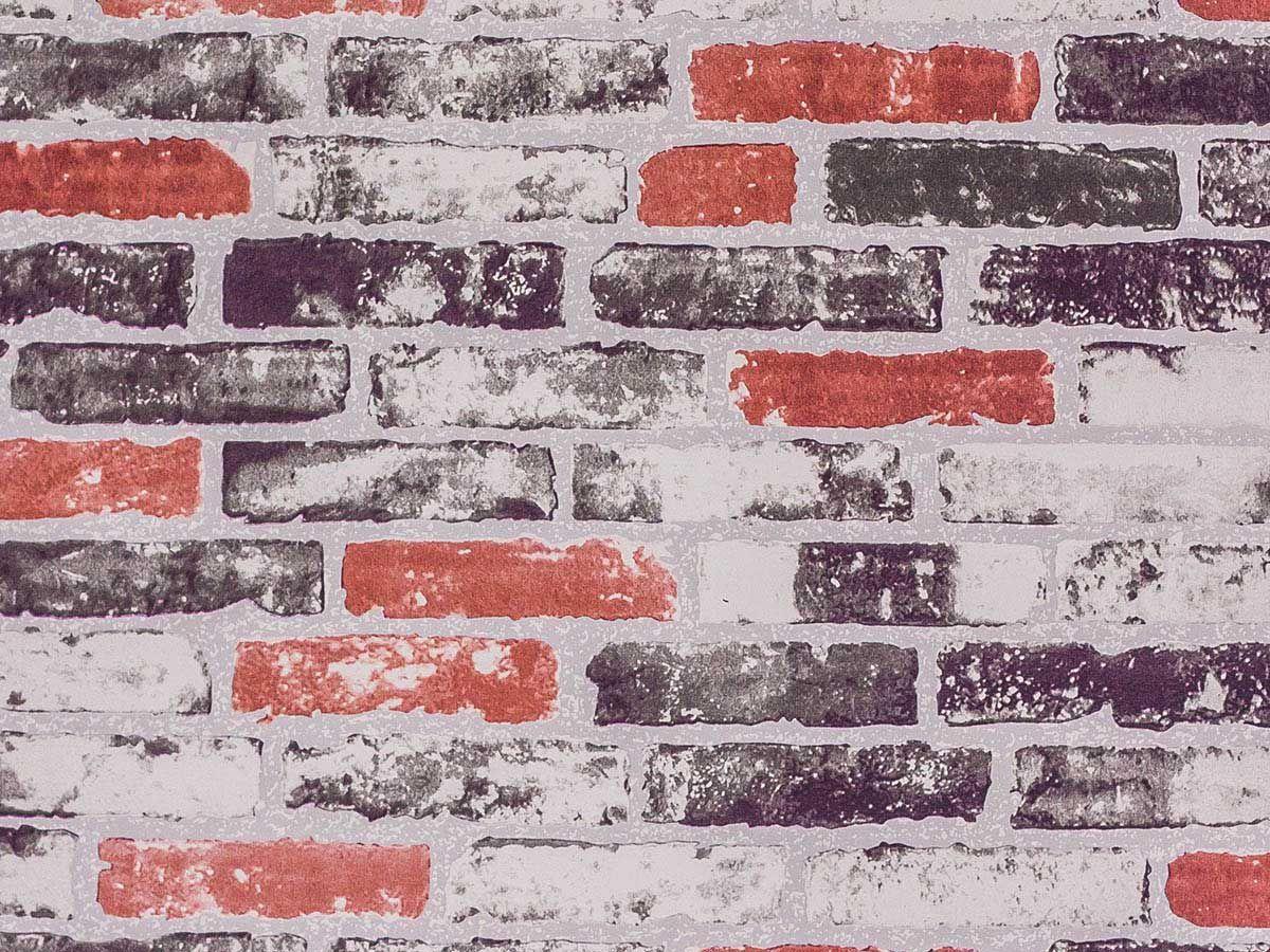 Papel De Parede Liso Tijolo Vermelho E Chumbo - 371504
