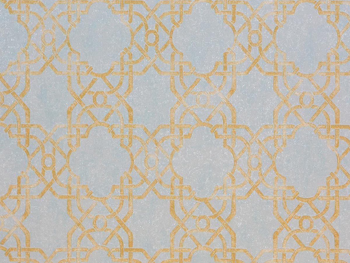 Papel De Parede Texturizado Geometrico Azul Claro E Ambar - 87035