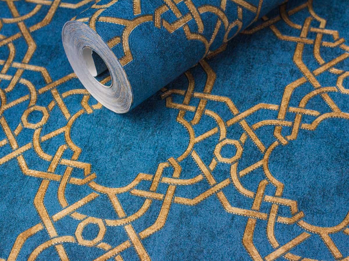Papel De Parede Texturizado Geometrico Azul Jeans, Conhaque - 87038