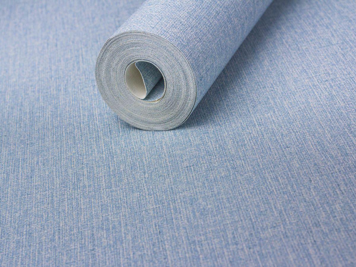Papel De Parede Texturizado Linho Azul Claro - 87058