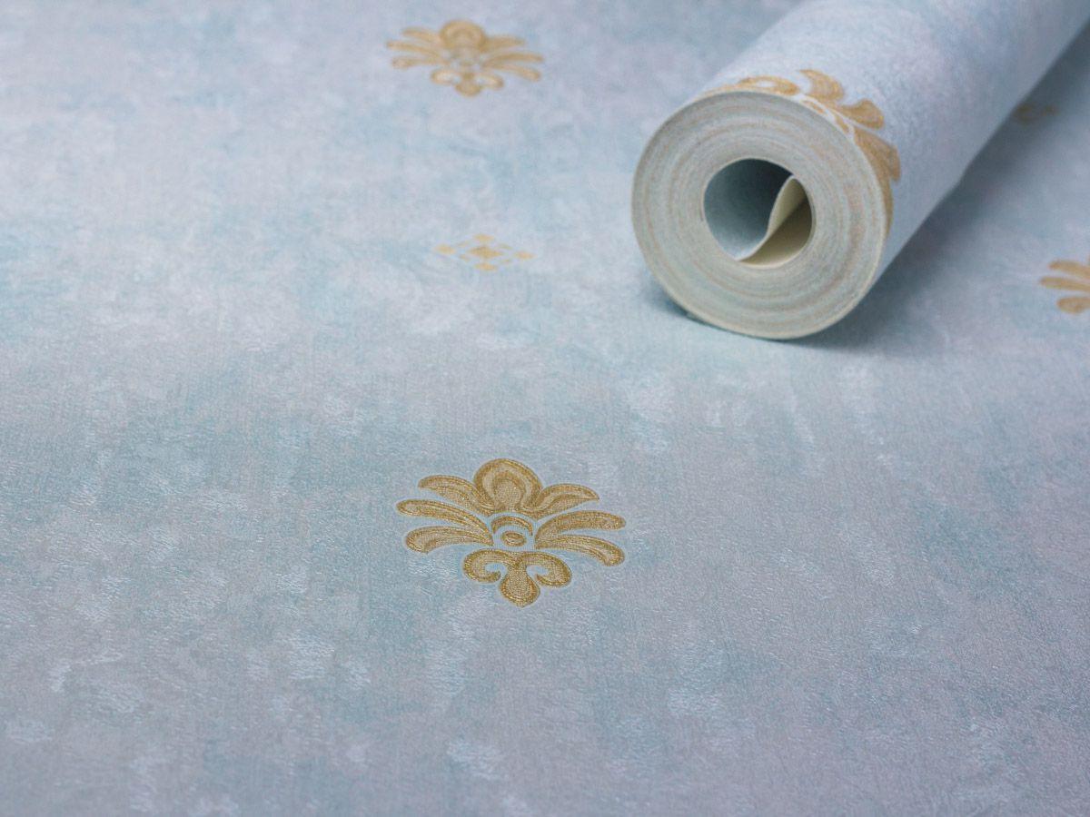 Papel De Parede Texturizado Mini Arabesco Azul Acetinado E Ambar - 87043