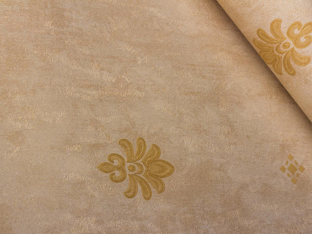 Papel De Parede Texturizado Mini Arabesco Bege E Ambar - 87041