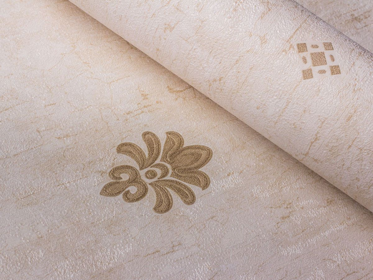 Papel De Parede Texturizado Mini Arabesco Bege Perolado E Marrom - 87046