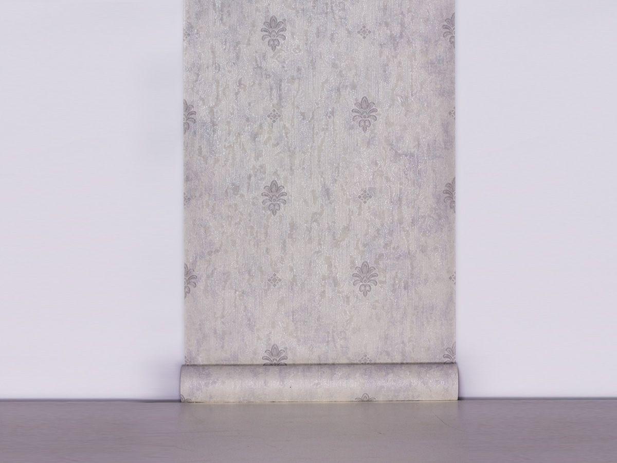 Papel De Parede Texturizado Mini Arabesco Branco Gelo E Cinza - 87045