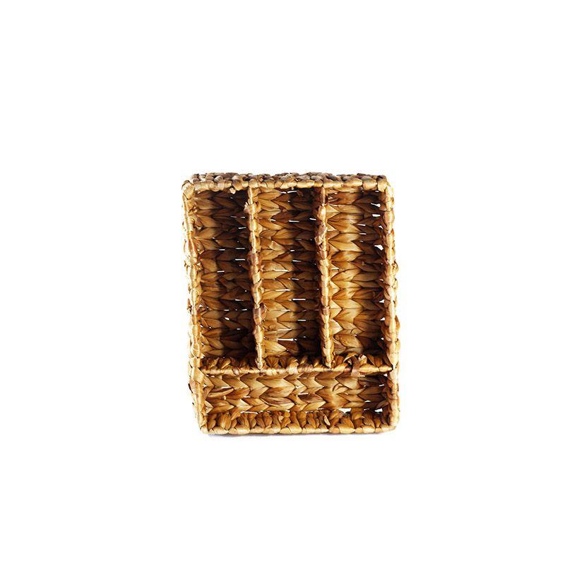 Porta Talheres em Palha com 4 divisórias - 35 x 28 x 8 cm - 5749