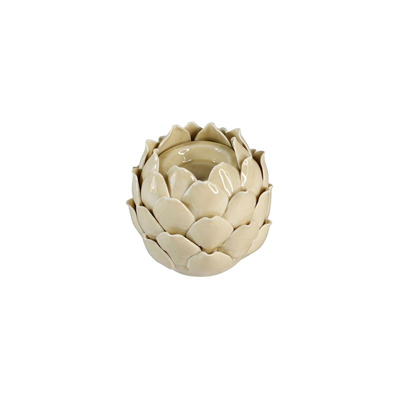 Porta Vela Alcachofra Decorativa - Bege - 10 x 9,5 cm - 5822