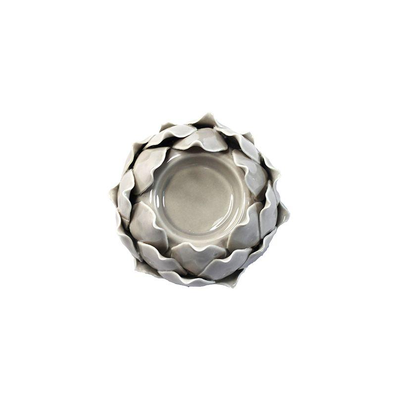 Porta vela Alcachofra Decorativa - Cinza - 7 x 9,5 cm - 5821