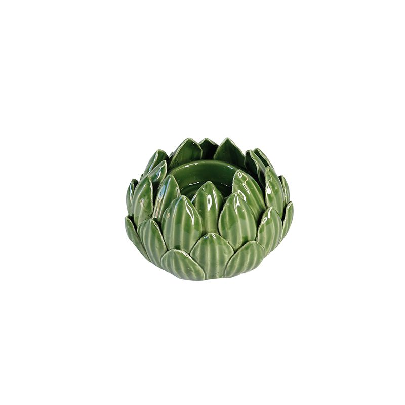 Porta Vela Alcachofra Decorativa - Verde - 7 x 11 cm - 5823