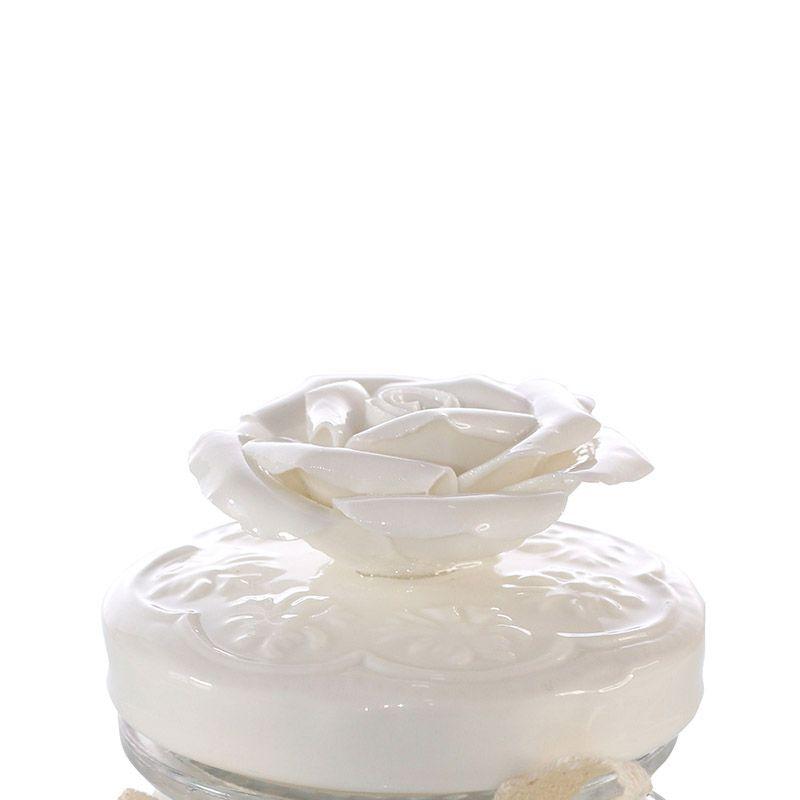 Pote de Vidro com Tampa em Cerâmica Rosa - 12,5 x 7,5 cm - 5825