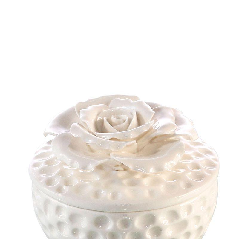 Potiche de Cerâmica Rosa Branca - 6,5 x 7 cm - 5827