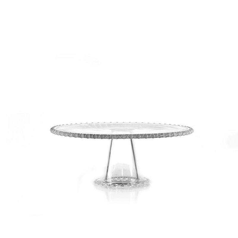 Prato para Bolo com pé de Vidro Bolinha - 27 x 10 cm - 6342