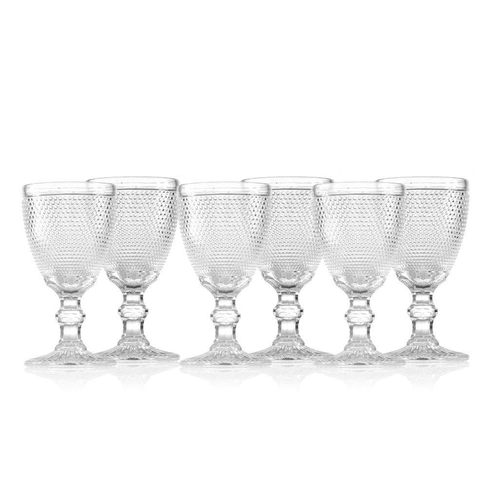 Jogo de Taças de Vidro Bolinha Transparente - 8,8 x 17 cm