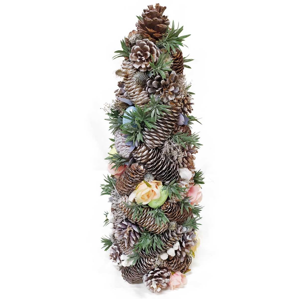 Topiara Decorativa de  Páscoa Pinhas e Rosas 55Cm