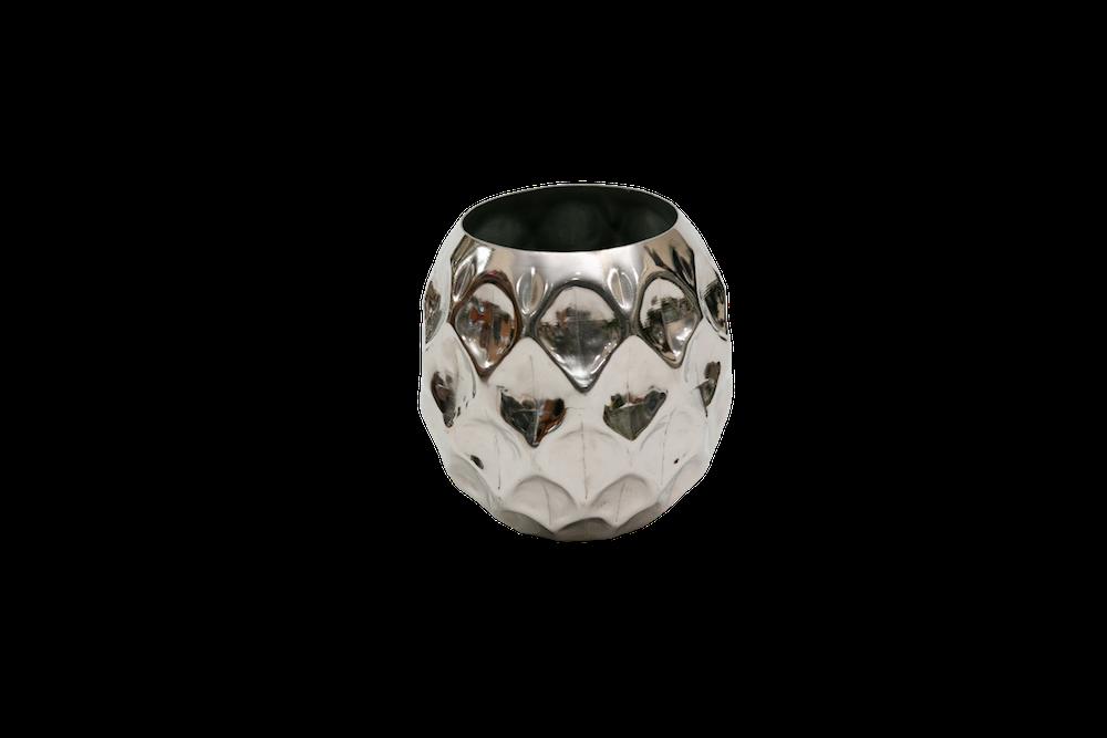 Vaso De Metal Polido Redondo 21X13Cm