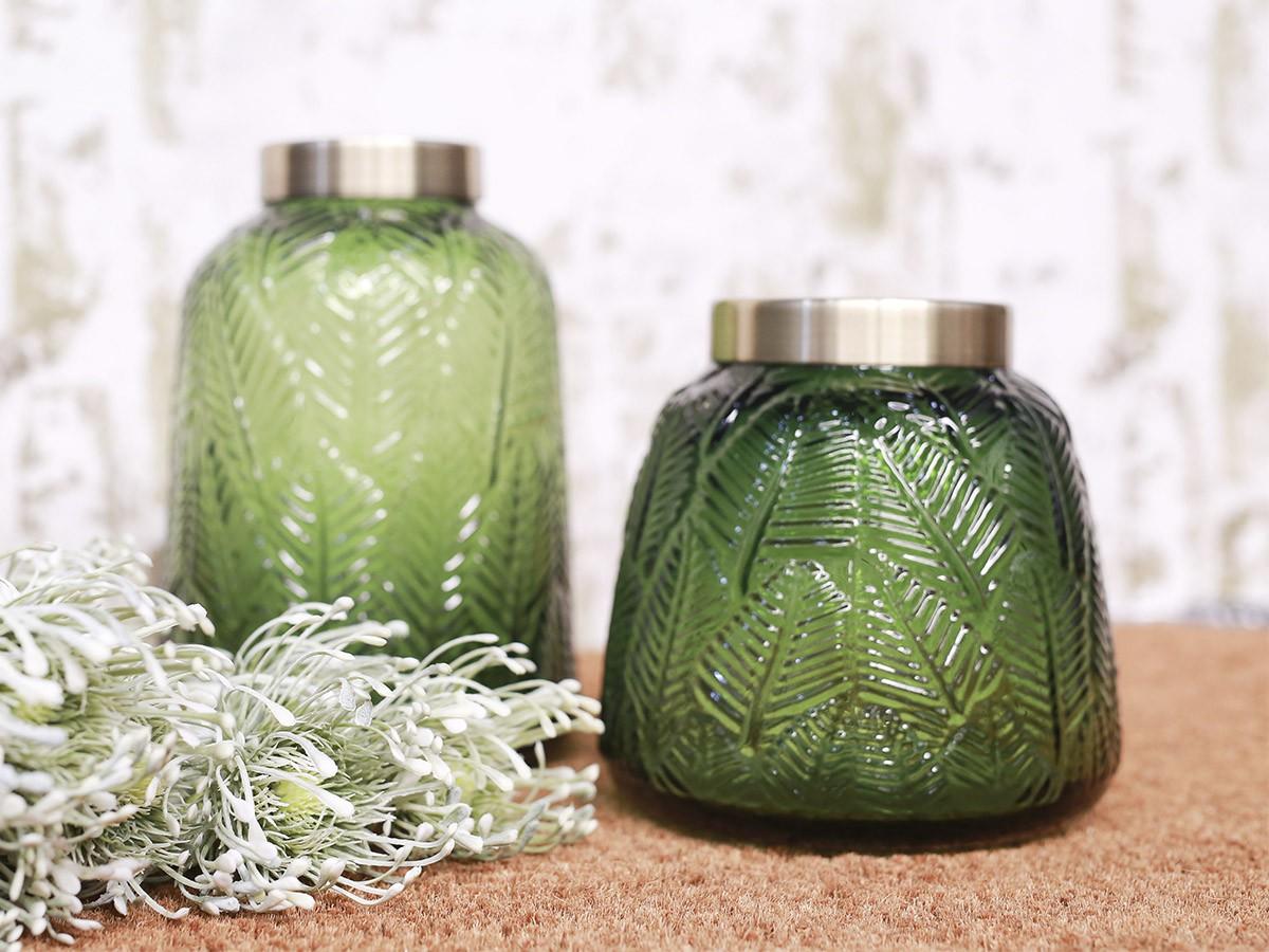 Vaso de Vidro Folhagem Verde com borda em metal - 16cm - 6388