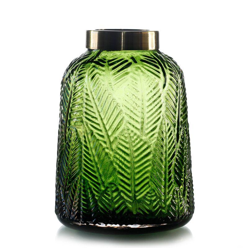 Vaso de Vidro Folhagem Verde com borda em metal - 21cm - 6389