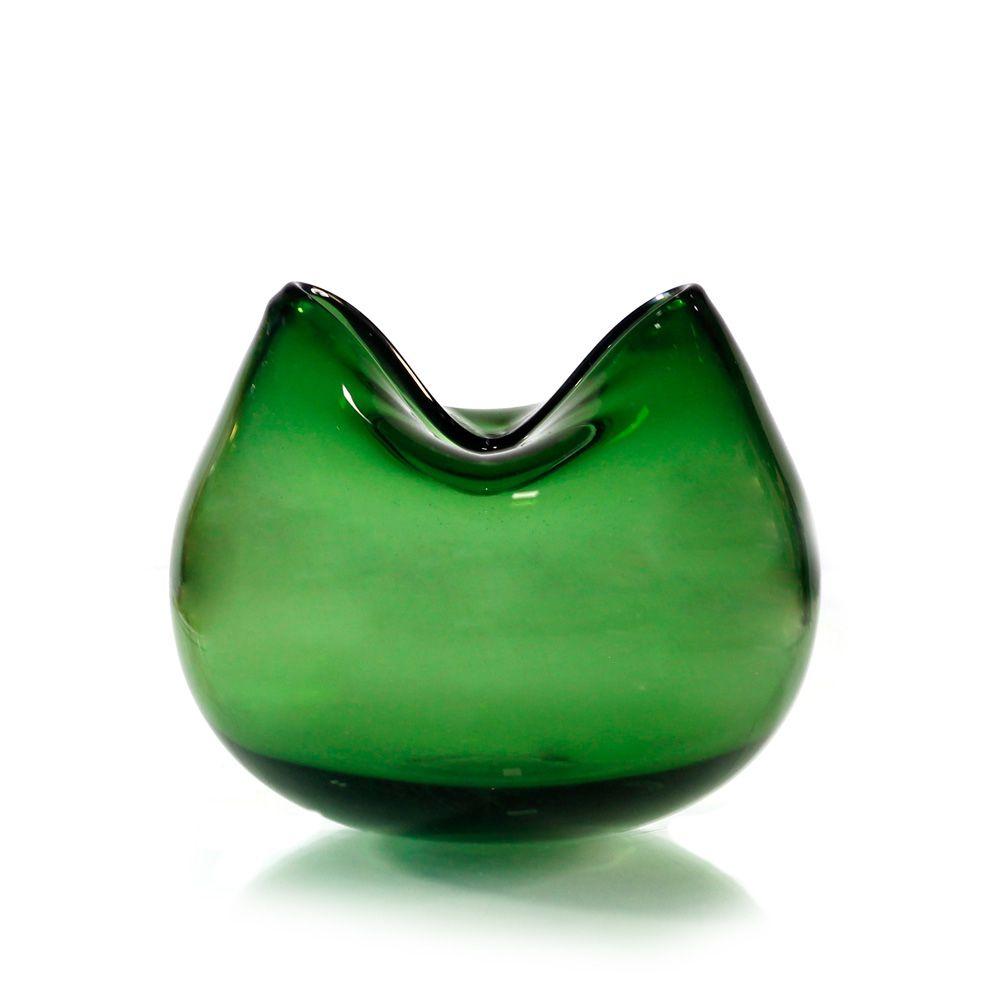 Vaso de Vidro Verde - 14 x 11cm - 6362