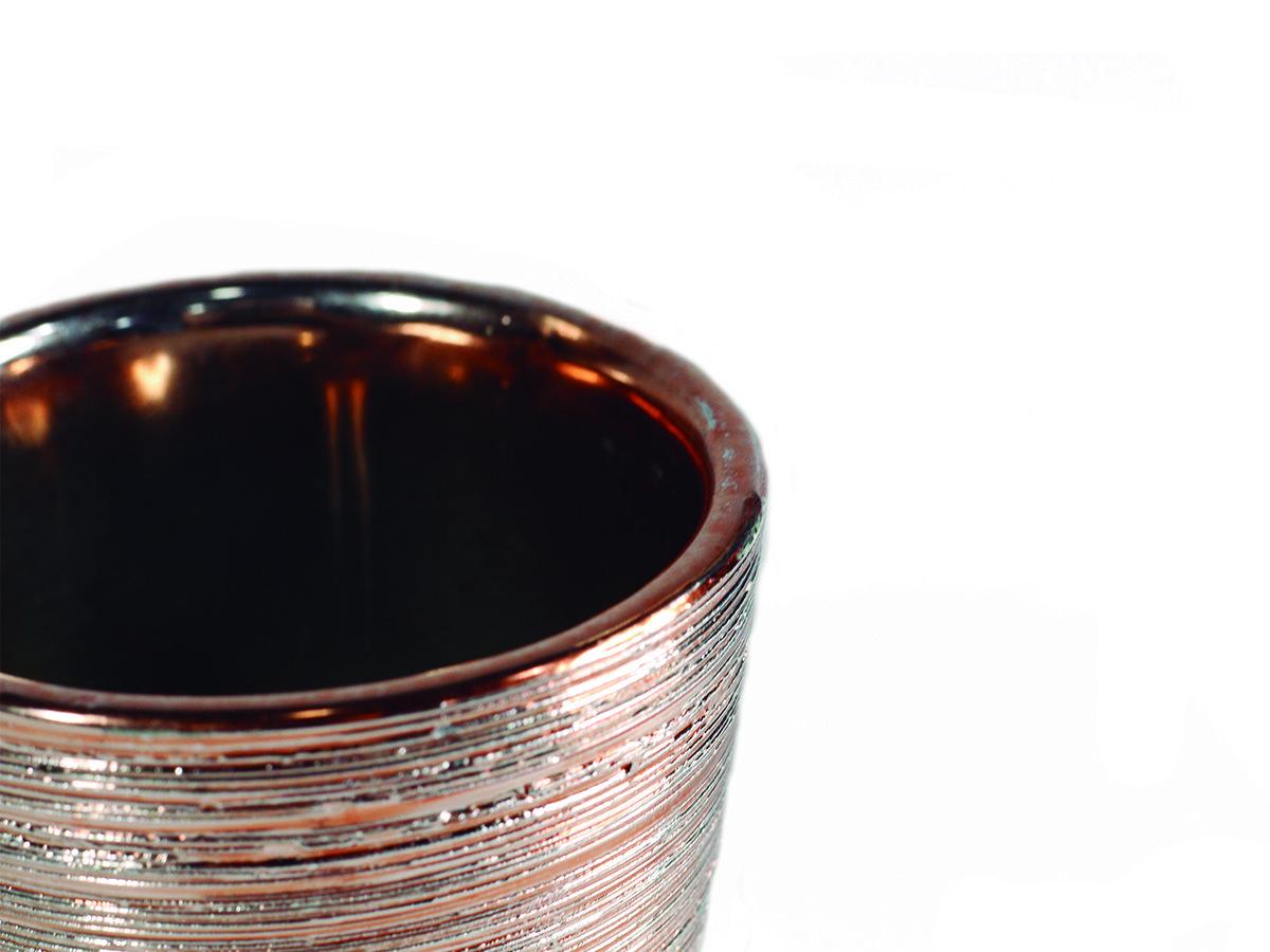 VASO EM CERAMICA REDONDO ROSE GOLD 6,5X6 CM 5155