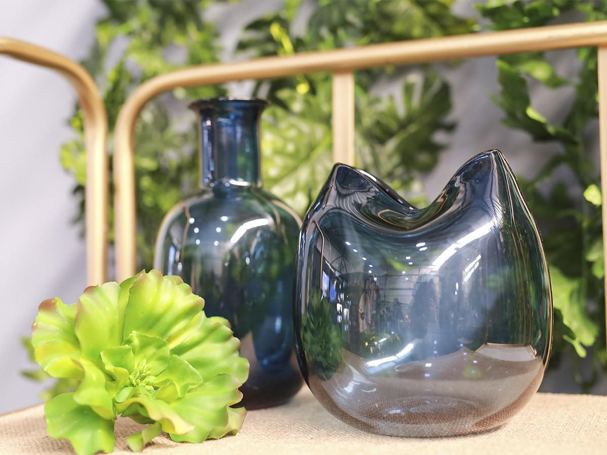 Vaso Garrafa de vidro Azul - 21,5 x 6,5 cm - 6363