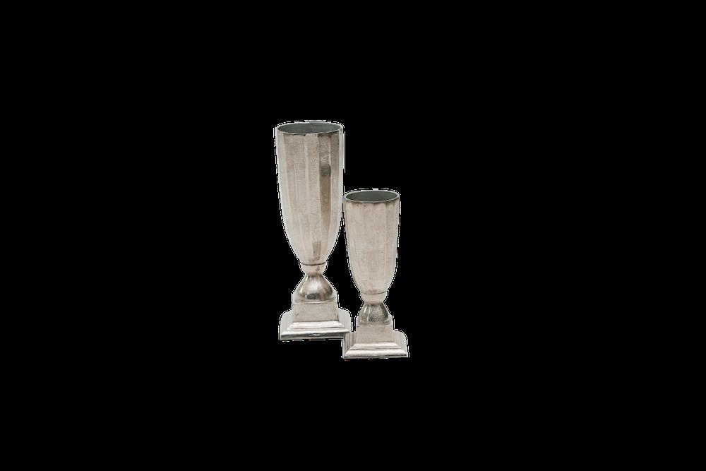 Vaso Metal Bruto Redondo Plissado Com Pe Quadrado 30X10,5Cm