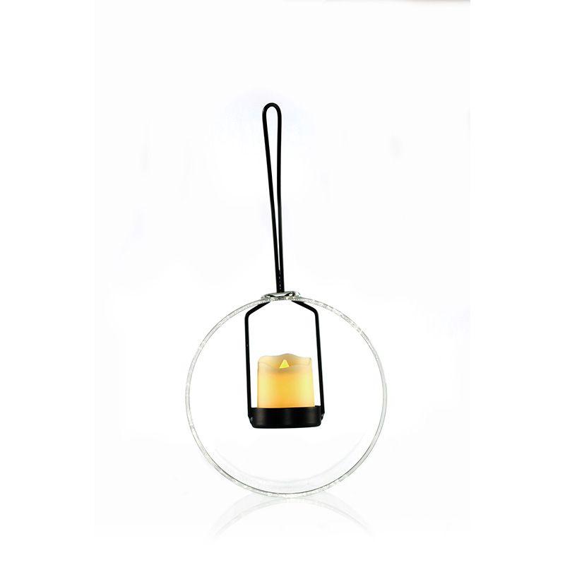 Vaso Pendente de Vidro com Porta Vela - 12 x 10 cm - 6358