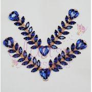 Cabedal Similar em V Escama Coração Azul (Par)
