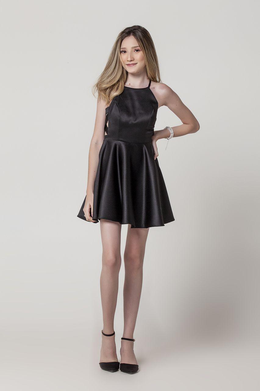Vestido de Festa Juvenil Curto Liso